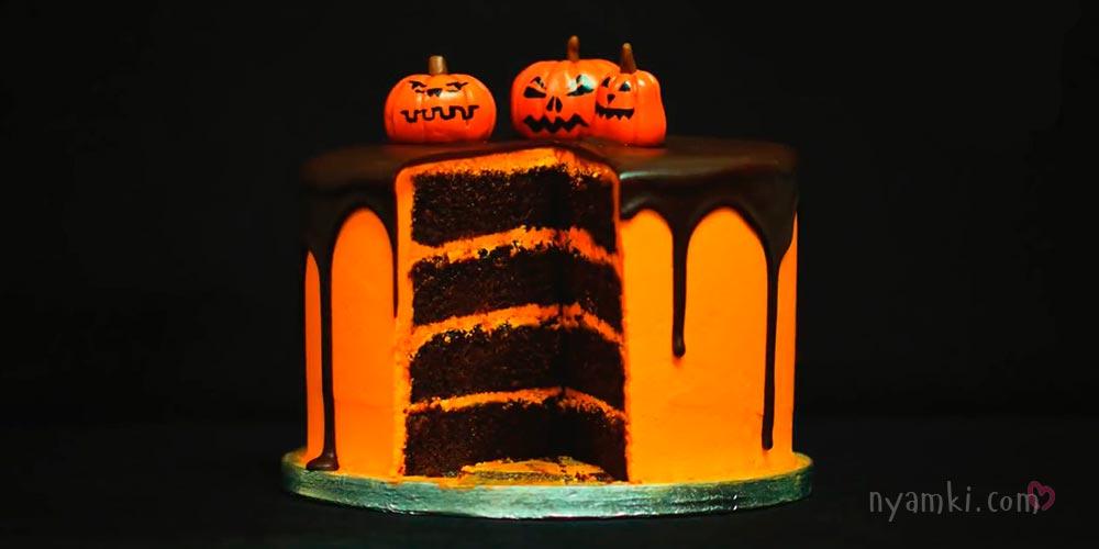 Хеллоуин торт шоколадно апельсиновый